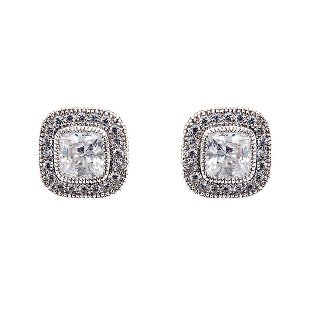 daa875c74 925 sterling silver, rhodium plate micro pave square cubic zirconia stud  earrings - E20729. Sybella Jewellery