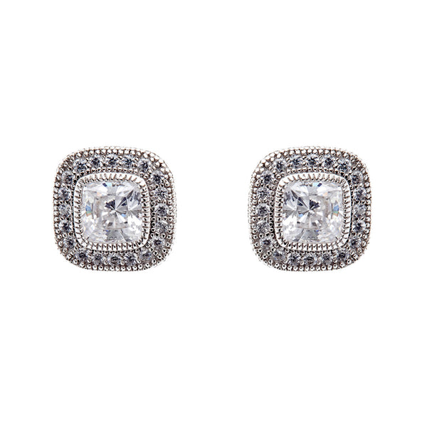925 sterling silver, rhodium plate micro pave square cubic zirconia stud earrings - E20729