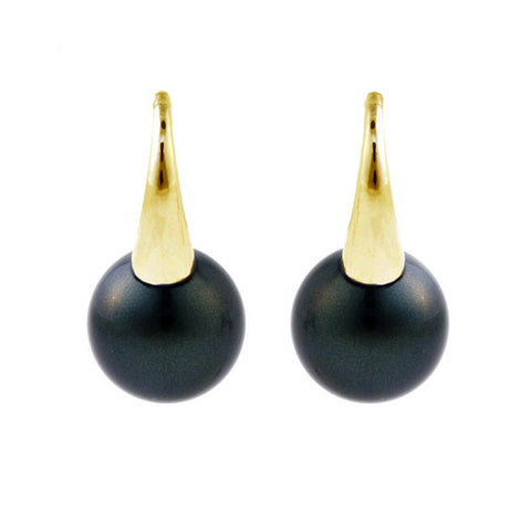 10mm round black pearl on gold hook - E21-608GP