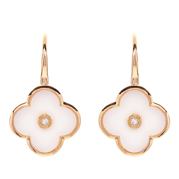 Yellow gold cubic zirconia & white ceramic flower drop earrings- E210-WGP