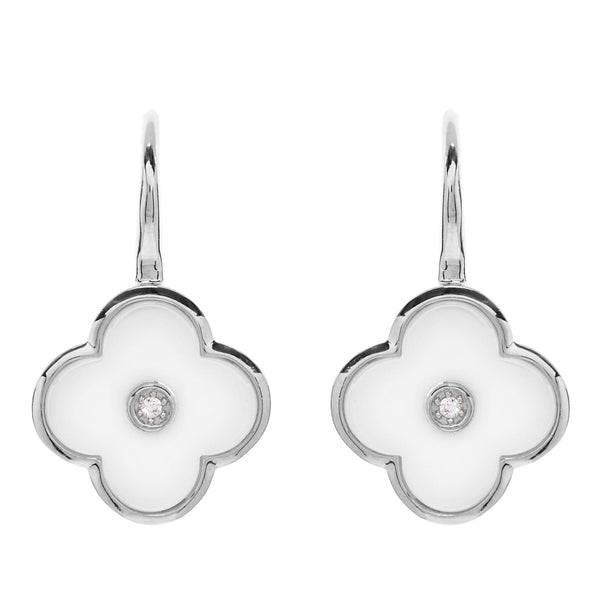 Rhodium cubic zirconia & white ceramic flower drop earrings- E210-WRH