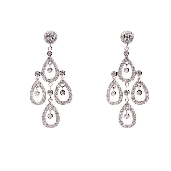 925 sterling silver, rhodium plate micro cubic zirconia chandelier earrings - E21050