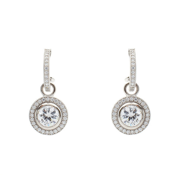 925 sterling silver, rhodium plate cubic zirconia hoop & cubic zirconia drop earrings - E21057