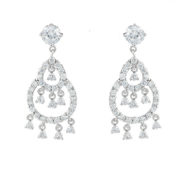 Rhodium antique cz dress earrings - E2105