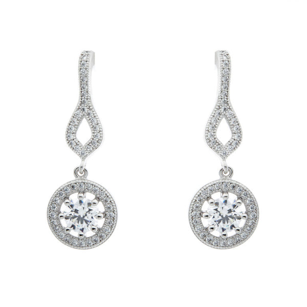 925 sterling silver, rhodium plate micro pave cubic zirconia round earrings - E21577