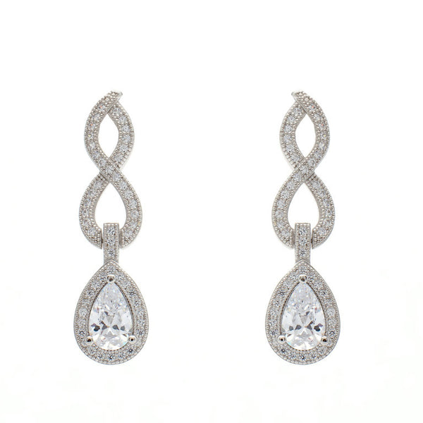 925 sterling silver, rhodium plate micro pave cubic zirconia dress earrings - E21760