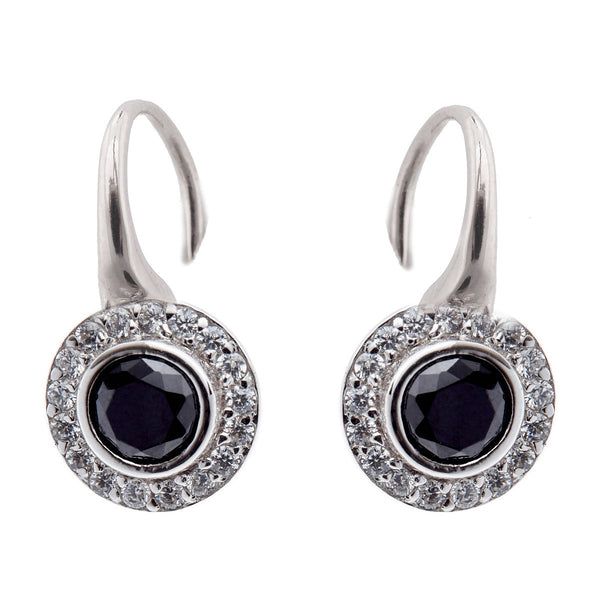925 sterling silver, rhodium plate clear and black cubic zirconia earrings on french hook - E753-B
