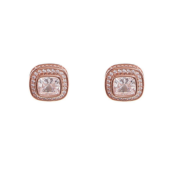 Rose gold square cubic zirconia studs - E2271-RG