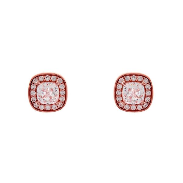 Rose gold plate square cubic zirconia studs - E2271-RG
