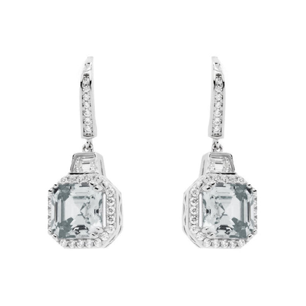 925 sterling silver, rhodium plate cubic zirconia earrings - E23874-RH