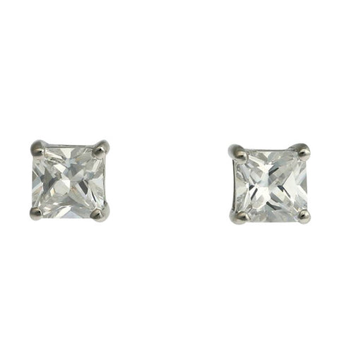 925 sterling silver, rhodium plate 7mm princess cut cubic zirconia stud - E24-7RH