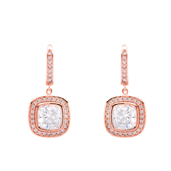 Rose Gold Plated Square Earrings - 24043-RG