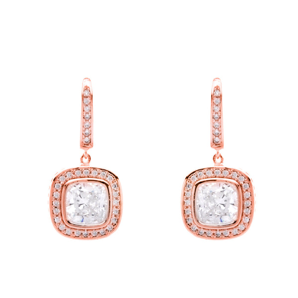 Rose gold plate square cubic zirconia earring - E24043-RG