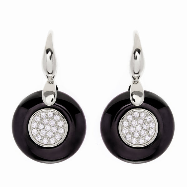 E244-BRH-Rhodium, black ceramic & cz earrings