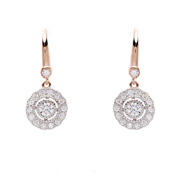 925 sterling silver, rhodium plate cubic zirconia flower earrings on rose gold hook - E245-RG