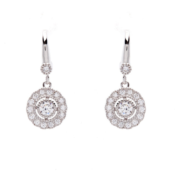 925 sterling silver, rhodium plate cubic zirconia flower earrings on french hook - E245-RH