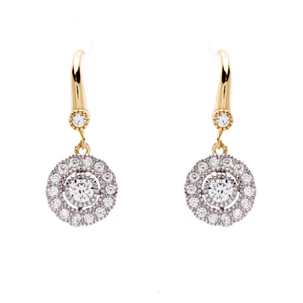925 sterling silver, rhodium plate cubic zirconia flower earrings on yellow gold french hook - E245-YG