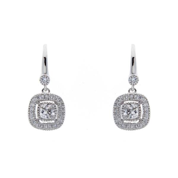 E246-RH - Rhodium cz square earrrings on french hook