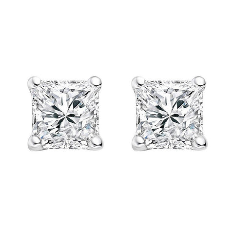 925 sterling silver, rhodium plate 5mm princess cut cubic zirconia stud - E24-5RH
