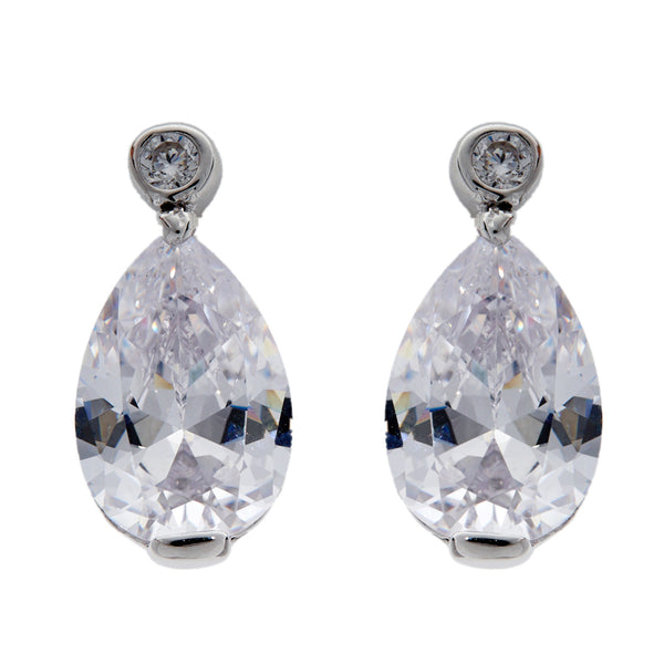 Silver large tear drop cubic zirconia studs- E2527