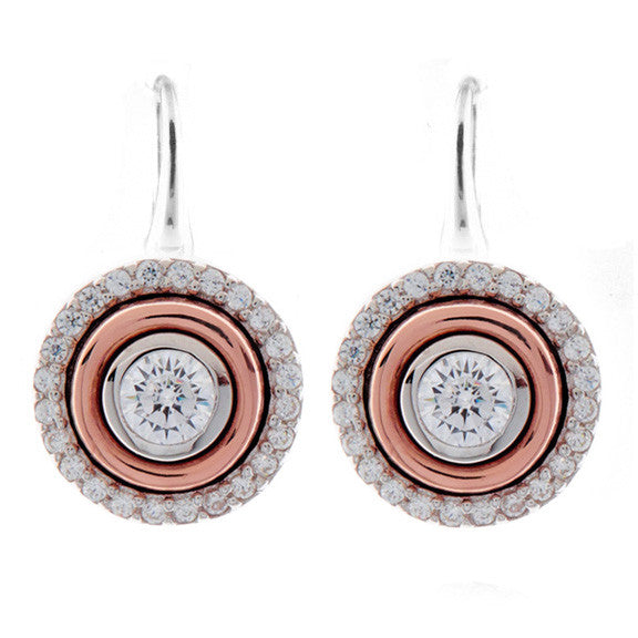 Two tone cubic zirconia earrings on french hook - E261-RG
