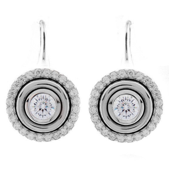 925 sterling silver, rhodium plate cubic zirconia earrings on french hook - E261-RH