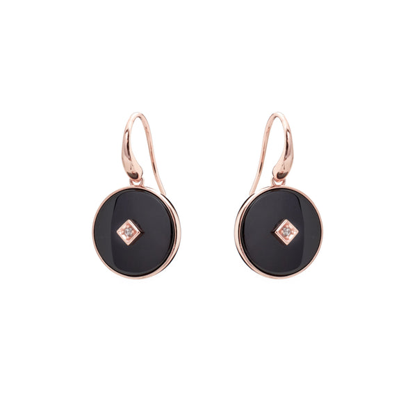 E2664-BRG - Rose Gold & black ceramic with cz centrepiece hook earring