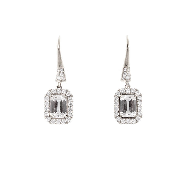925 sterling silver, rhodium plate rectangle cubic zirconia earrings - E274-RH