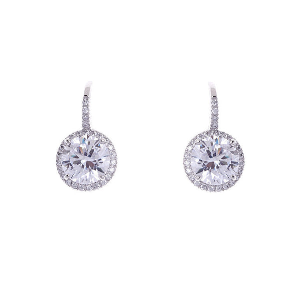 925 sterling silver, rhodium plate cubic zirconia earrings - E286-RH