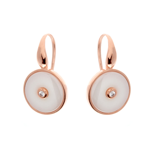 E2872-WRG - Rose gold round cz ceramic earrings on Sybella hook