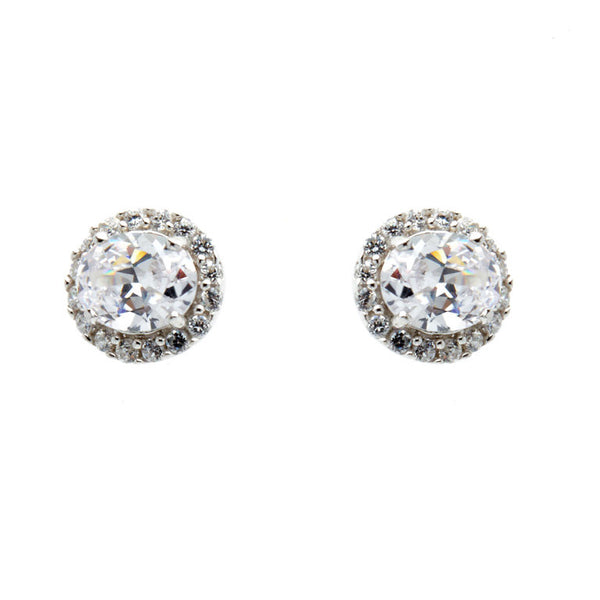 925 sterling silver, rhodium plate cubic zirconia oval stud earrings - E2936