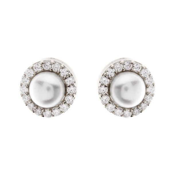 925 sterling silver, rhodium plate pearl & cubic zirconia studs - E317-RH