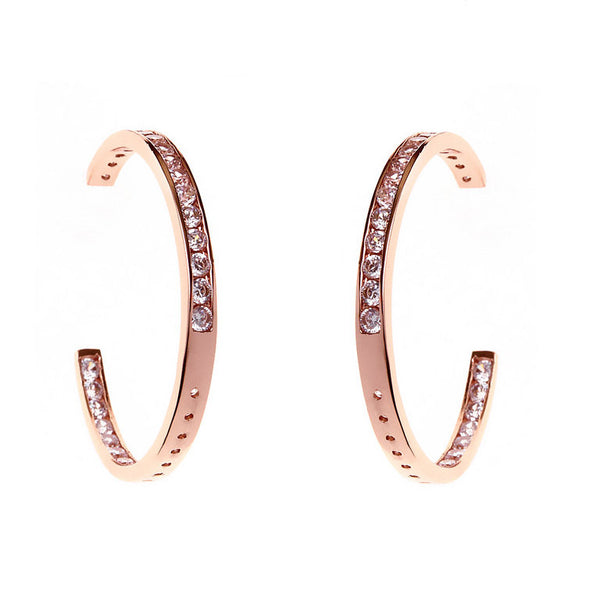 40mm rose gold cubic zirconia hoop earrings - E34-40RG