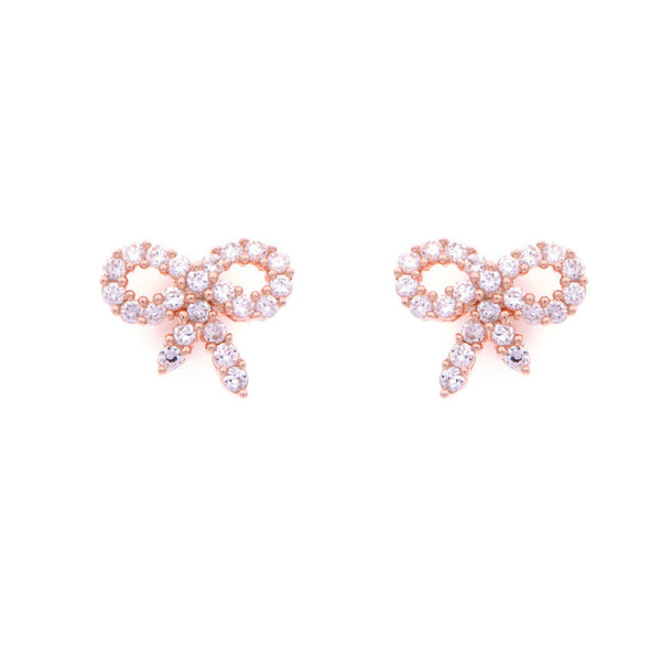 Rose gold plate & cubic zirconia bow earrings - E3599-RG