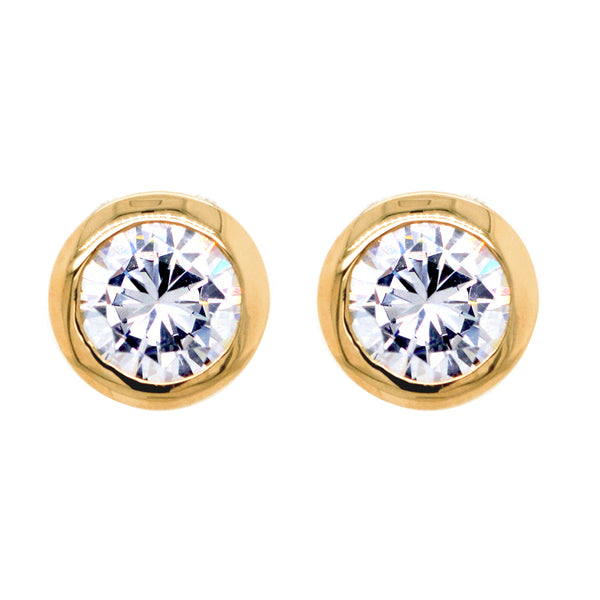 E42-GP - Yellow gold 6mm bezel cz studs