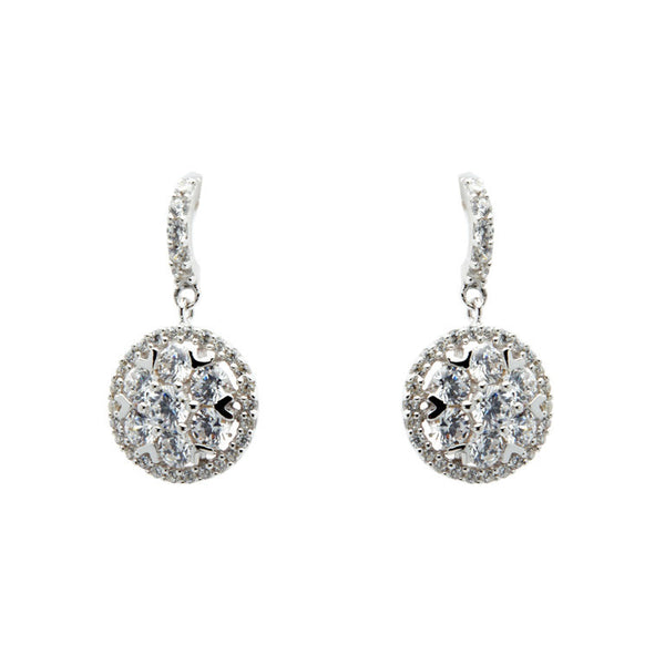 925 sterling silver, rhodium plate cubic zirconia earrings on french hook - E4447
