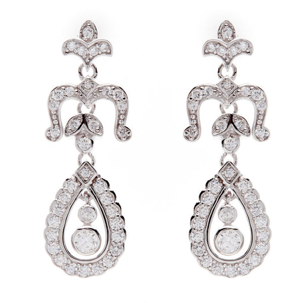 925 sterling silver, rhodium plate antique dress earrings - E4543