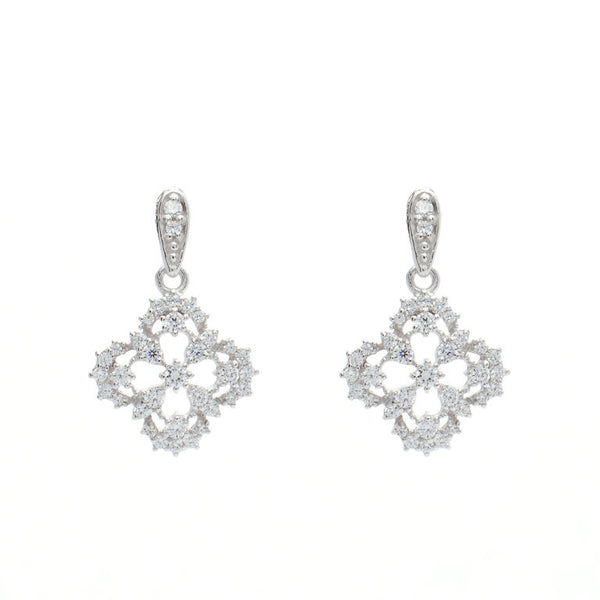 925 sterling silver, rhodium plate antique cubic zirconia earrings - E454