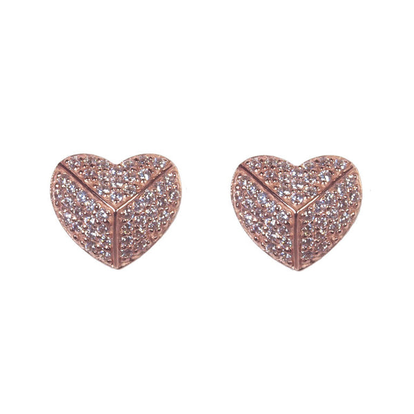 Rose gold cubic zirconia pave heart earrings - E49-RG