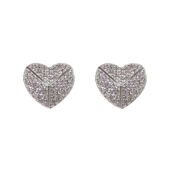 925 sterling silver, rhodium plate cubic zirconia pave heart earrings - E49-RH