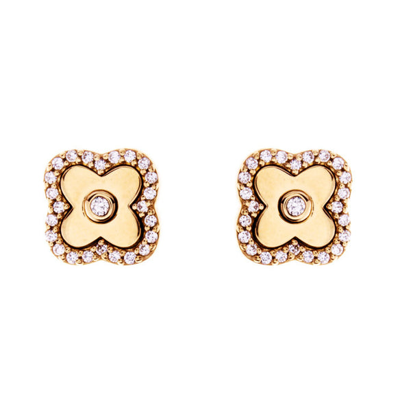 Solid yellow gold plate & cubic zirconia flower studs - E494-GP