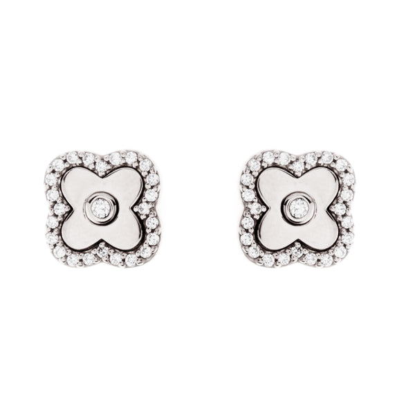 Solid 925 sterling silver, rhodium plate & cubic zirconia flower studs - E494-RH