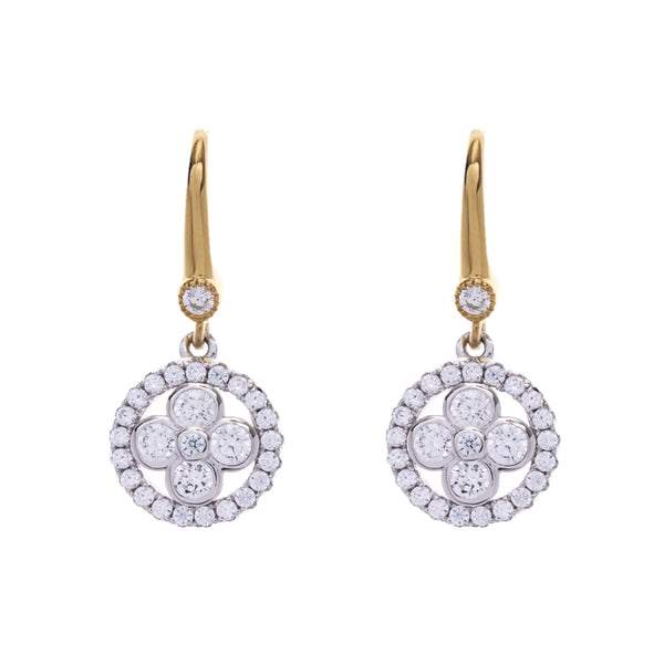 Two tone yellow gold flower earring with cubic zirconia on hook- E521-YG