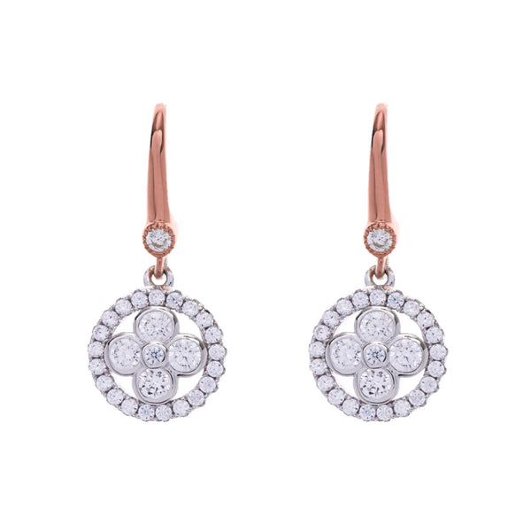 Two tone rose gold flower earring with cubic zirconia on hook- E521-RG