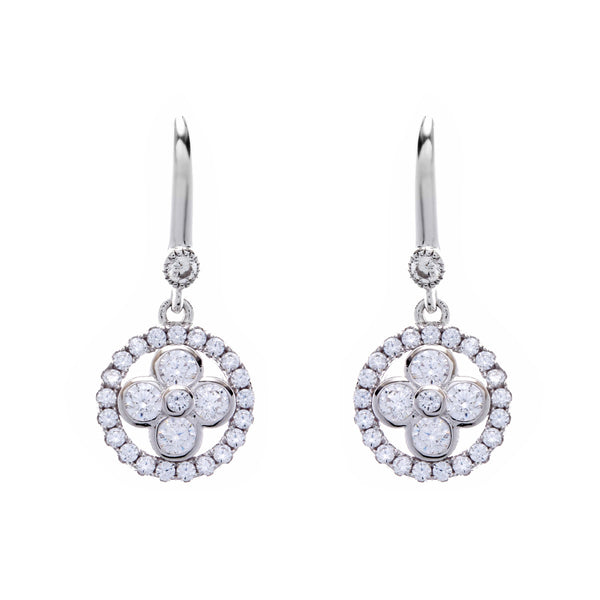 Silver cubic zirconia flower earrings on hook- E521-RH