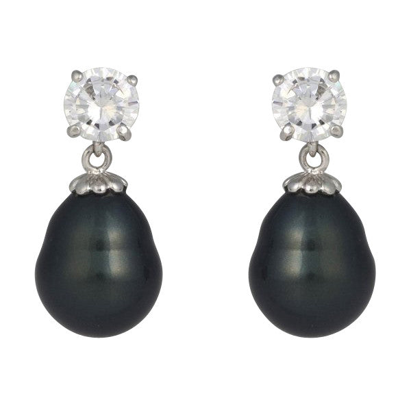 7mm cz & 12x15mm black baroque pearl earrings - E57-608RH