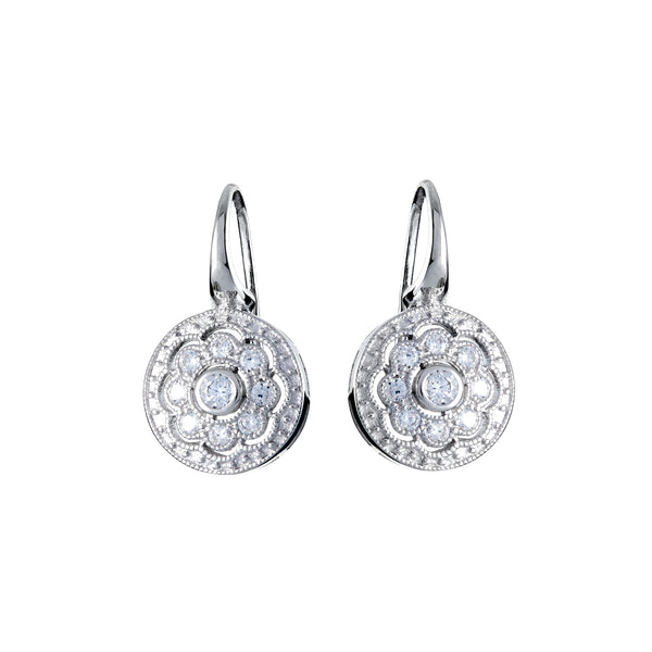 925 sterling silver, rhodium plate cubic zirconia art deco earrings - E591-RH