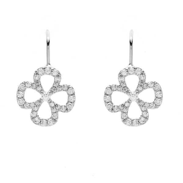 925 sterling silver, rhodium plate cubic zirconia flower earrings - E603-RH