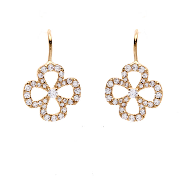 Yellow gold, rhodium plate cubic zirconia flower earrings- E603-YG