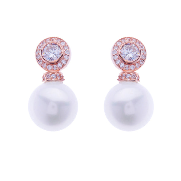 Rose gold plate cubic zirconia stud with round pearl drop earrings - E6263-RG